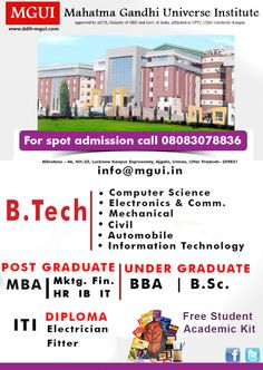 Mahatma Gandhi Universe Institute #Btech #MahatmaGandhiUniverseInstitute MGUI offers BTECH Programes in Jharkand, bachelor Technology is one of the field that has huge opportunities all over the world. B.tech in Civil Engineering, Electronics, Mechanical,Computer Science and more specialization are offered here .Also there are higher studies options after B.tech. For more information about MGUI B.Tech Courses Visit- www.ddit-mgui.com
