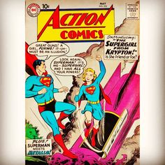 Boy, do we need her now! First appearance of Supergirl in Action Comics #252 in 1959. #dccomics #actioncomics #foundart #comicart #comics #supergirl #superman #metropolis #karazorel #lindadanvers #kryptonite #amazingart #colorful #cosmicarts #cosmiccoyotes