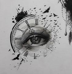 timeless pocket watch tattoo ideas - a classic and modern totem - new tattoo timeless pocket watch tattoo ideas - a classic and modern totem ideas tatto tattoofrauen tattoo wrist Clock Tattoo Ideas Dark Art Drawings, Pencil Art Drawings, Art Drawings Sketches, Tattoo Sketches, Tattoo Drawings, Biohazard Tattoo, Clock Tattoo Design, Eyes Artwork, Watch Tattoos