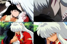InuYasha, and sesshomaru said falling in love with humans was a weakness. I don't care what people say. Sesshomaru loves Rin and should be with her when she grows up. She is perfect of him, as for inuyasha and kagome. Miroku, Kagome Higurashi, Kirara, Inuyasha And Sesshomaru, Kagome And Inuyasha, Inuyasha Memes, Inuyasha Funny, Awesome Anime, Anime Love