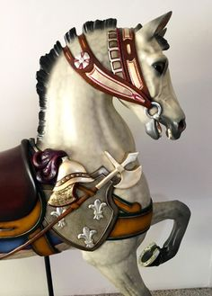 Dapple gray military lead horse from the Indian Trail Park carousel. Horse Fly, Horse Head, Carosel Horse, Wooden Horse, Painted Pony, Hobby Horse, Merry Go Round, All The Pretty Horses, Indian Trail