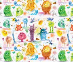 monster_pattern fabric by daniellehanson on Spoonflower - custom fabric - WINNER - NUMBER 1 of the Crayon Monster Design Contest! Congratulations Danielle !!  LOVE THIS!! :-)