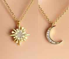 Paved Starburst Necklace gold silver rose gold Sun necklace