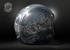 Open face helmet airbrushed with metallic and sparkle colors on a silver flakes basis.