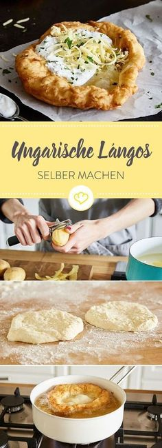 Lángos - the Hungarian original for do-it-yourself-Lángos – das ungarische Original zum Selbermachen Lángos are traditional flatbreads from Hungary. Discover the original recipe of the crispy yeast dough flatbread with sour cream and cheese. Pizza Recipes, Mexican Food Recipes, Beef Recipes, Shrimp Recipes, Brunch Recipes, Cake Recipes, Breakfast Recipes, Sour Cream Cake, Snacks Für Party