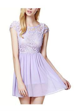 Purple Floral Lace Dress