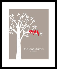 "Personalized Custom Love Birds Family Tree - Anniversary Gift - Gift for Wife - 11""x14"" (Red/Taupe). $21.00, via Etsy."