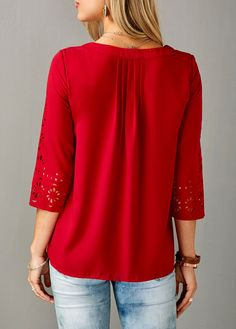 Three Quarter Sleeve Laser Cut Out Red Blouse   Rosewe.com - USD $31.40