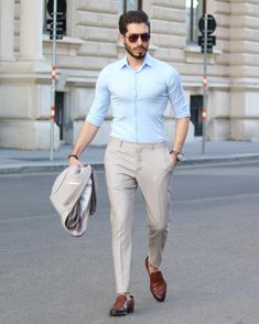 Simple tan colored suit for men with brown shoes and blue shirt. formal dresses for Formal Dresses For Men, Formal Men Outfit, Formal Shirts For Men, Men Formal, Casual Shoes For Men, Shoes Men, Trendy Dresses, Mens Office Fashion, Mens Fashion Blazer