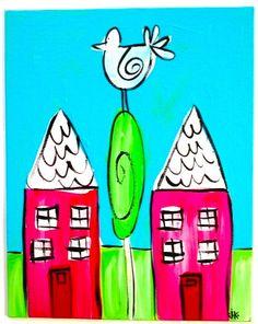 Happy Houses. 8X10 original painting. acrylic. modern, cute, folk, funk.. $32.00, via Etsy.