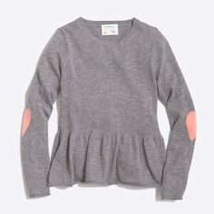 J.Crew+Factory+-+Girls'+peplum+popover+sweater+with+heart+elbow+patches