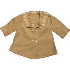 "1920s-30s Tan Wool Sailor Coat for 16-18"" Doll or Bear"