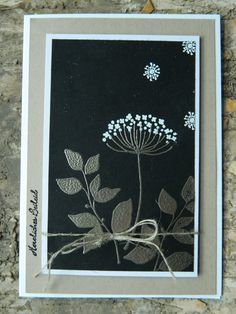 handmade card featuring Summer Silhouettes - made by sannshine ... silver embossed leaves on black ... white flowers ... framed look ... luv it! ... Stampin' Up!