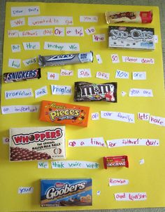 Creative candy poster for Father's Day. Crafts For Boys, Fathers Day Crafts, Candy Bar Cards, Diy Gifts, Best Gifts, 30th Birthday Gifts, Birthday Crafts, Candy Bar Posters, Fathers Day Poster