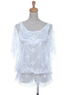 Anna-Kaci S/M Fit Pristine White Ultra Sheer Geometric Weave Cut Out Blouse Anna-Kaci. $13.00
