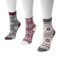 Muk Luks Women's 3 Pair Pack Holiday Boot Socks - Dark Red One Size Fits Most
