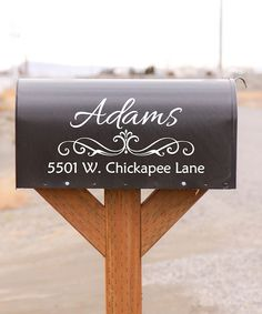 Add personalized flair to the mailbox with this elegant decal. Decals are easy to apply and remove if you find a new home sweet home.  Shipping note: This item will be personalized just for you. Allow extra time for your special find to ship.