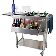 Glastender Portable Stainless Steel Cocktail Station Bar Cart