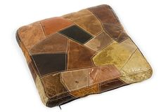 1970s Leather Patchwork Cushion