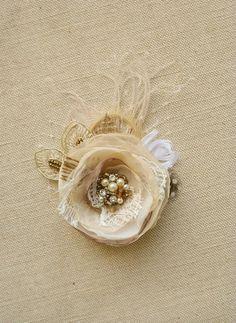 Rustic Wedding Hair Accessory Burlap Flower by BelleBlooms on Etsy