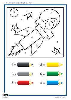 Simple colour by numbers pictures with clear visuals. Fish and Seahorse activities use four colours. Rocket and car activities use six colours. For toddlers and preschool teaching activity Space Activities, Learning Activities, Kids Learning, Teaching Resources, Learning Spanish, Space Preschool, Preschool Worksheets, Preschool Activities, Color By Numbers