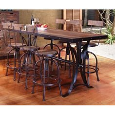 5PC:IFD963,4COUNTER  Antique  Pine & Metal 5-Piece Counter-Height Dining Set