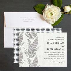 Modern Block Print Wedding Invitations by Emily Crawford | Elli