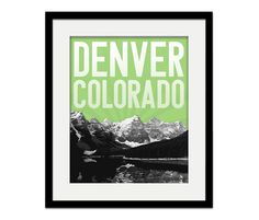Denver Colorado Rocky Mountains City Skyline  8 x by EmbieOnline, $17.00