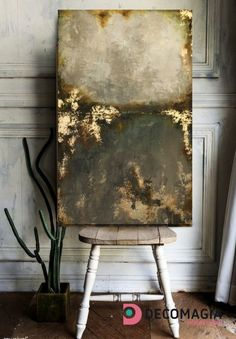 Decomagia - Large painting abstract at a wooden panel. Ivory - brown with gold leaves technique Faux Painting, Large Painting, Painting Abstract, Diy Painting, Decoupage Art, Decoupage Vintage, Leave Art, Decorative Panels, Panel Art