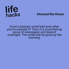 Food container smell bad even after you've washed it? 100 Life Hacks, Simple Life Hacks, Useful Life Hacks, Awesome Life Hacks, Life Tips, Household Cleaning Tips, House Cleaning Tips, Cleaning Hacks, Making Life Easier