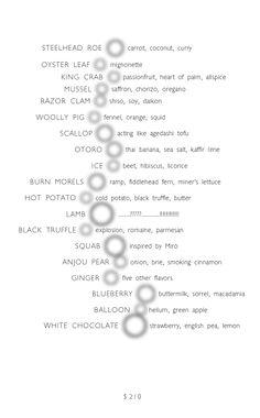 Alinea #menu
