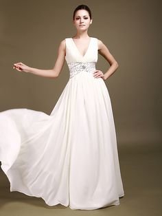 Chiffon Deep-V Neckline Ruffled Bodice Beaded Silver Waistband Backless A-line Style Floor Length Evening Gown