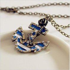 Amazon.com: Fashion Vintage Bronze Chain Anchor Shape Pendant Long Chain Necklace Clothes: Home & Kitchen