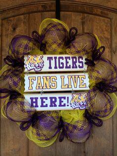 Geaux LSU Tigers! Tigers Fans Live Here Deco Mesh wreath  #BayouBurlapandBling