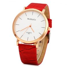 Gold Plated Stylish Business Watch - RED