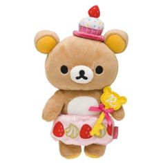 """By San-X from Japan Rilakkuma from the Collection """"Rilakkuma Cupcake"""" Series Rilakkuma in Strawberry Cupcake costume. Authentic Product from San-X"""
