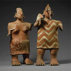 A Large Nayarit Standing Couple, Ixtlán Polychrome style,<br>Protoclassic, 100 B.C.-A.D. 250 | Lot | Sotheby's