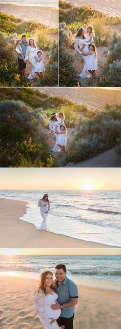 Beautiful sunset pregnancy, maternity session on the Dalyellup Beach in Bunbury, Western Australia.