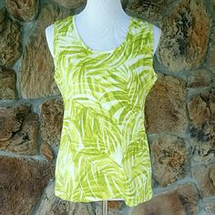 """Chico's Zenergy Green Palm Ribbed Tank This lime green tank top by Chico's Zenergy has a palm frond pattern.  Scoop neck.  Size 2 Large. Arm pit to arm pit is 19"""" unstretched.  Waist is 19"""" unstretched.  Length from mid shoulder to bottom is 26"""".  95% Cotton/5% Spandex. Machine washable. Zenergy by Chico's Tops Tank Tops"""