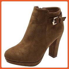 Top Moda Women's Hazel 2 Faux Suade Chunky Heel Ankle Booties (7.5, Tan) - Boots for women (*Amazon Partner-Link)