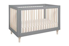Babyletto Lolly 3-in-1 Convertible Crib with Toddler Rail, Gray/Washed Natural
