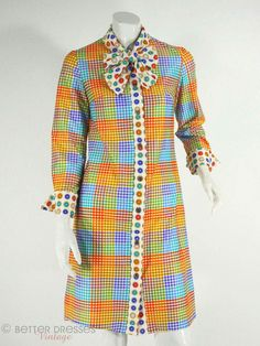 60s or 70s Bright Plaid and Polka Dot Shift Dress by BeeDeeVintage.