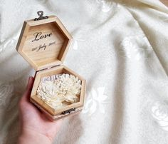 Wedding rings box wedding pillow rustic cotton by MKedraWedding