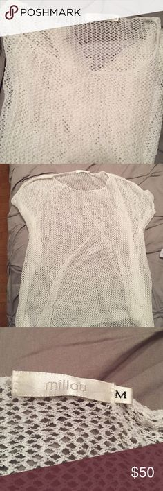 White Mesh Tee from LF Loose and slightly long white mesh tee from LF! Worn a few times, in perfect condition. The fabric is very light and it's perfect for the summer with a bralette!! LF Tops