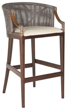 Safavieh Furniture SEA4014B - Inspired by the exotic tales of Hemmingway, the Brando rattan barstool with brown cotton cushion is a nod to the art and adventure of imbibing. Rugged maho