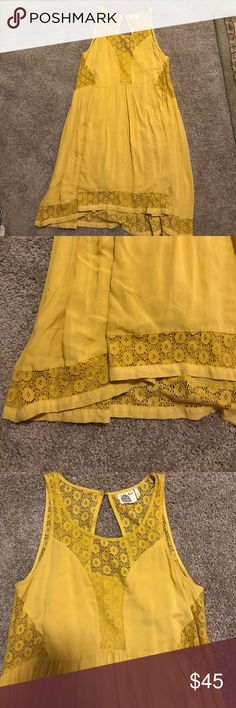 Anthro Dress: Lilka Lilka Brand by Anthro. Adorable yellow dress with various lace details and layering- comes with matching slip Anthropologie Dresses Mini
