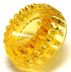VINTAGE 1930'S HONEY AMBER DEPRESSION GLASS BUTTON w/JELL-O MOLD RIM