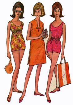 McCalls 7306 1960s Bathing Suit Drawstring Empire by retromonkeys, $38.50