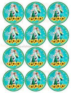 Frozen Fever Cupcake Topper - Stickers GoPartyFiesta
