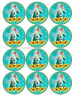 Frozen Fever Cupcake Topper - Stickers GoPartyFiesta